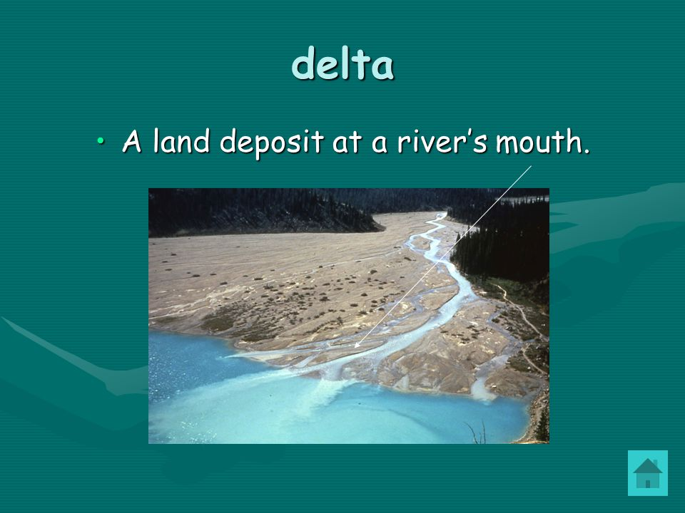 A land deposit at a river's mouth.
