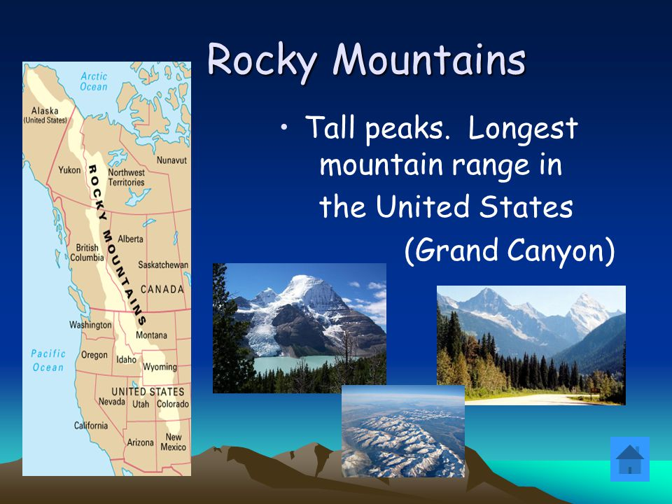 Tall peaks. Longest mountain range in