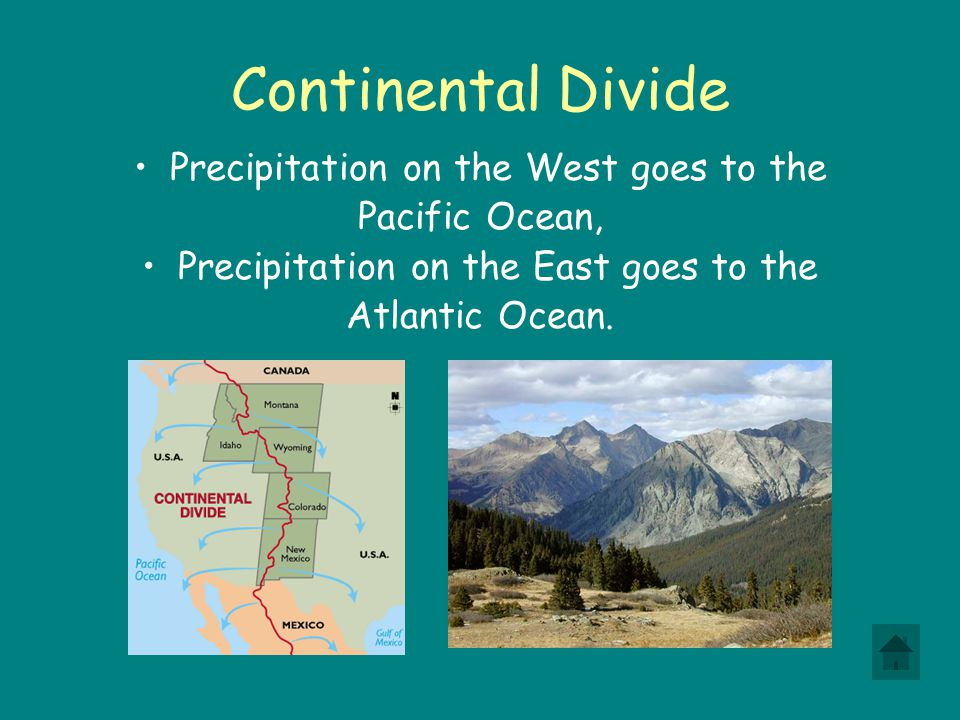Continental Divide Precipitation on the West goes to the