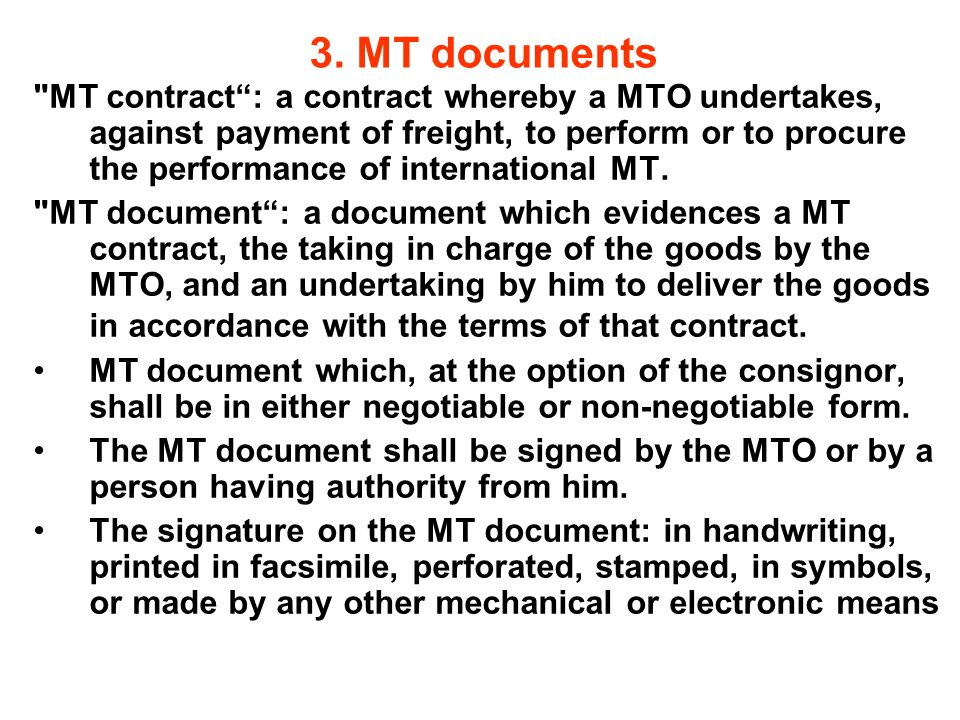 3. MT documents