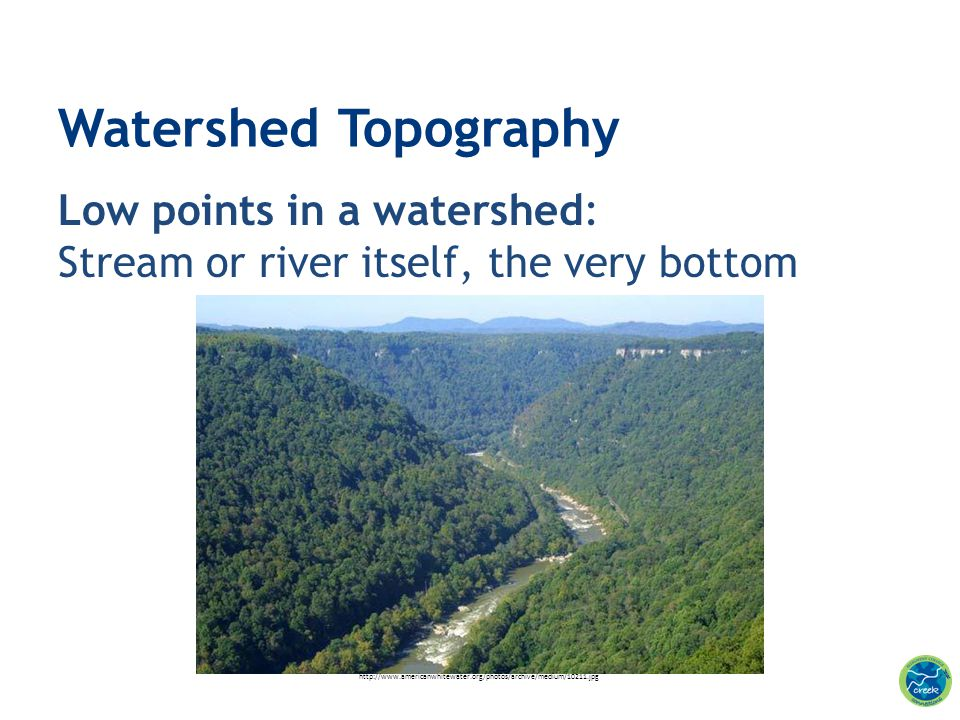 Watershed Topography Low points in a watershed: