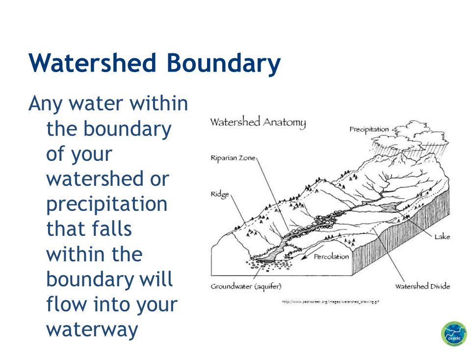 Watershed Boundary Any water within the boundary of your watershed or precipitation that falls within the boundary will flow into your waterway.