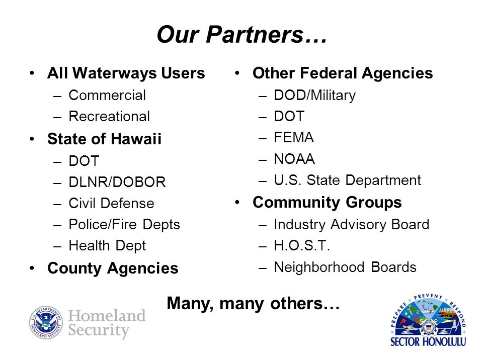 Our Partners… Many, many others… All Waterways Users State of Hawaii