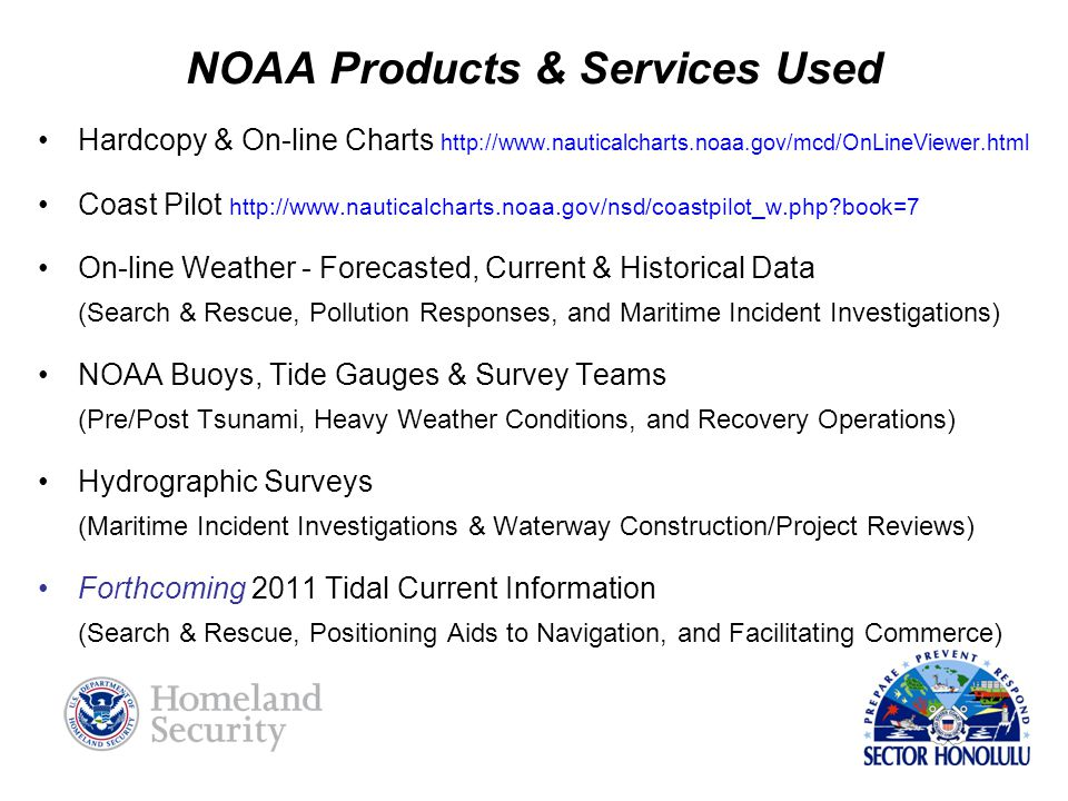 NOAA Products & Services Used