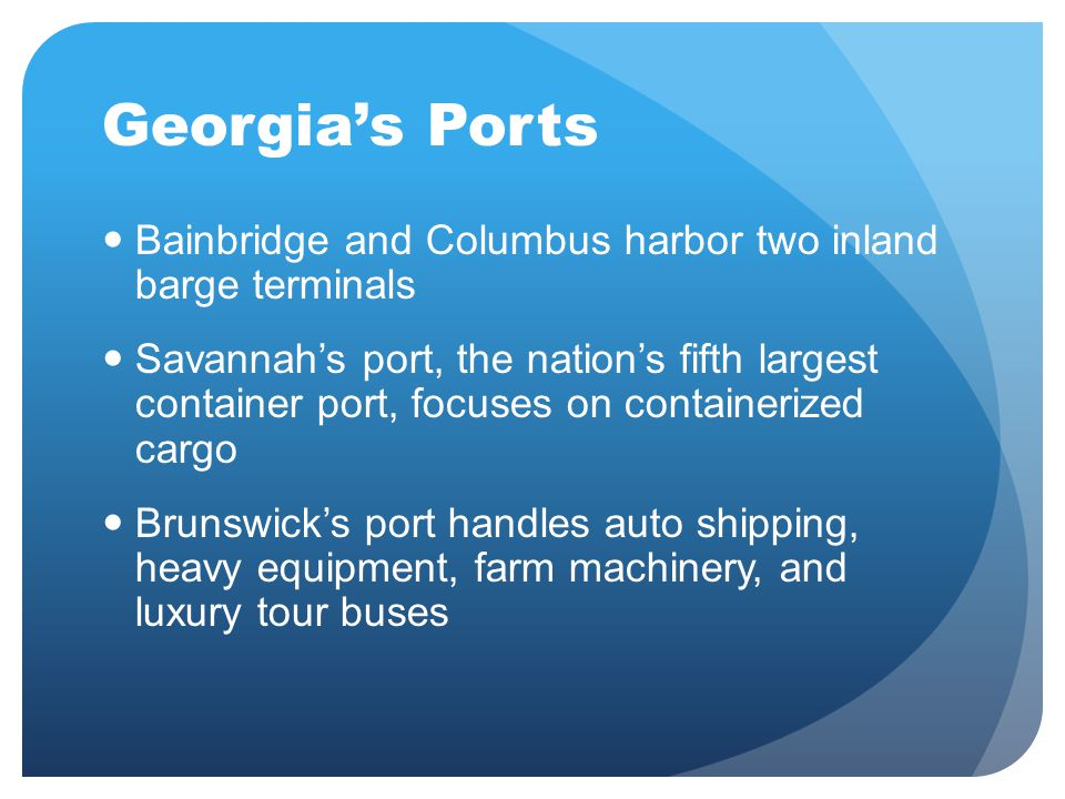 Georgia's Ports Bainbridge and Columbus harbor two inland barge terminals.