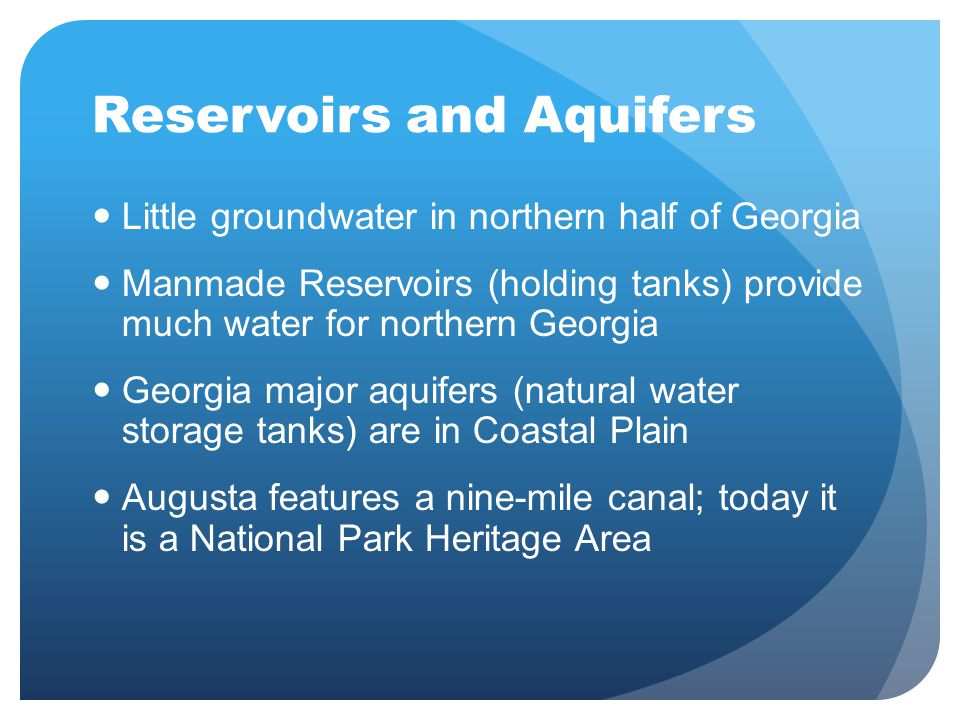 Reservoirs and Aquifers