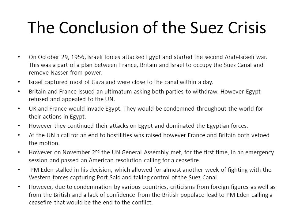 The Conclusion of the Suez Crisis