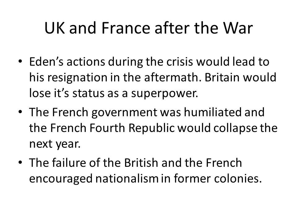 UK and France after the War