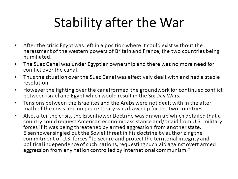 Stability after the War