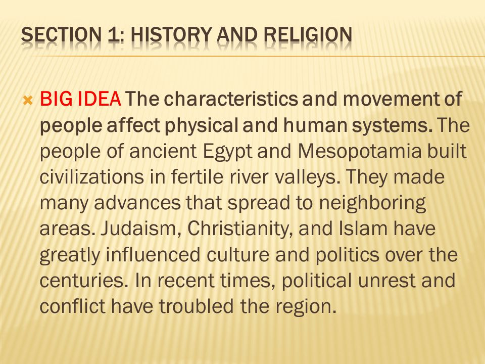 Section 1: History and Religion