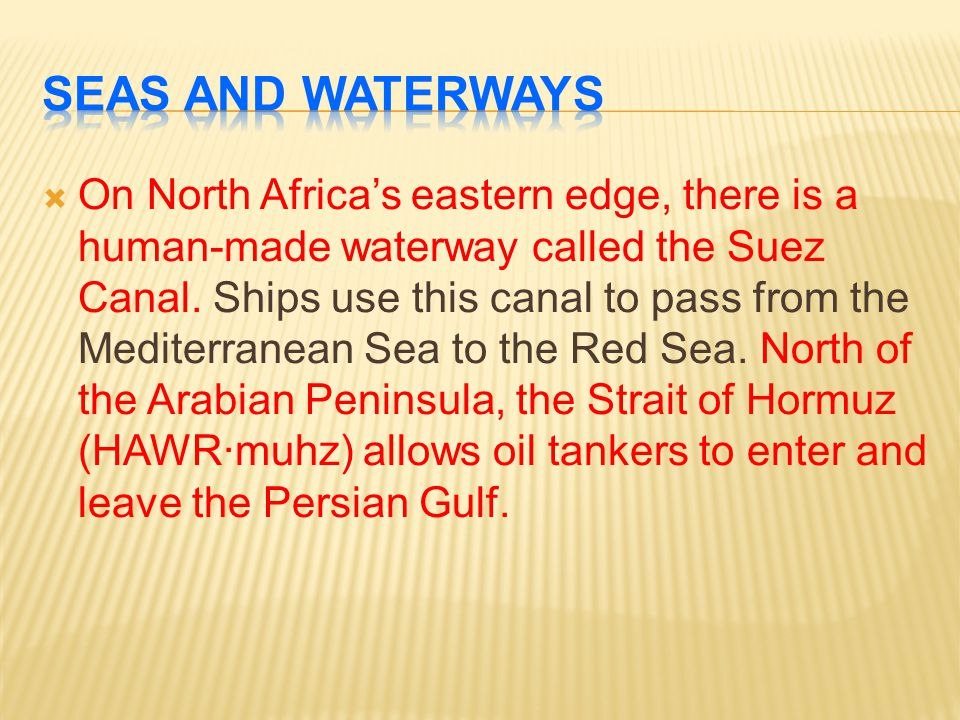 Seas and Waterways