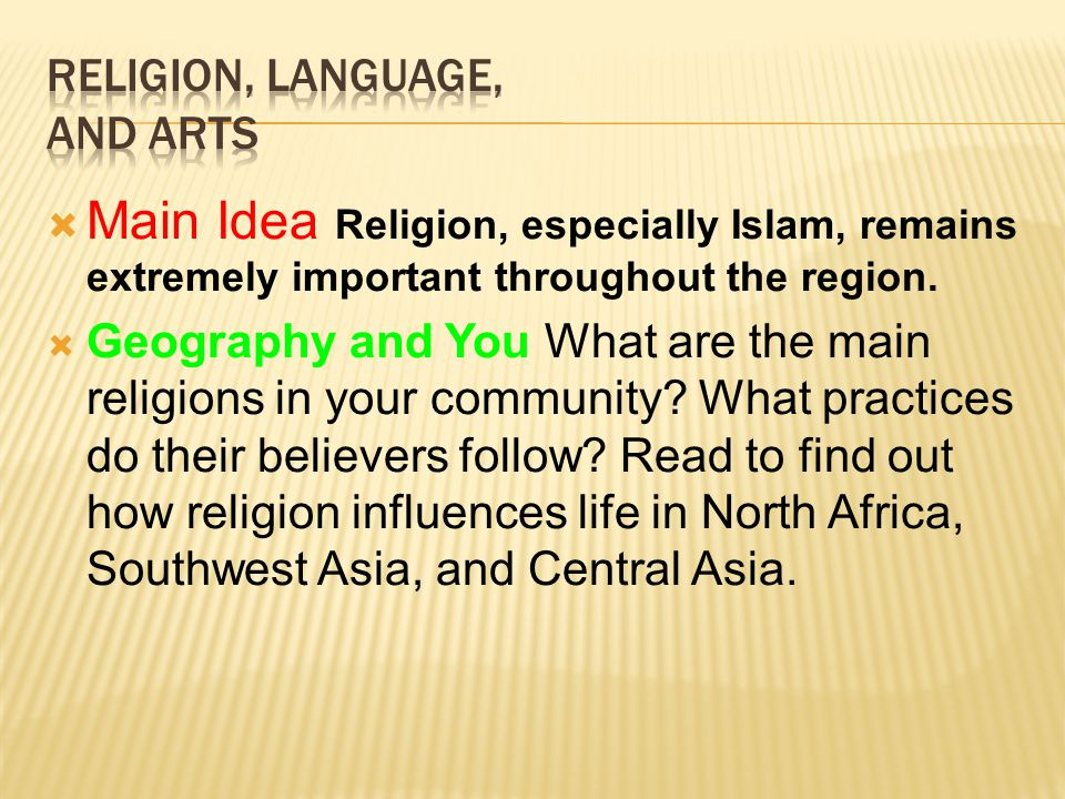 Religion, Language, and Arts