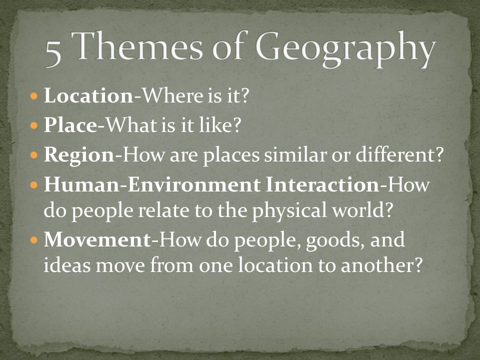 5 Themes of Geography Location-Where is it Place-What is it like