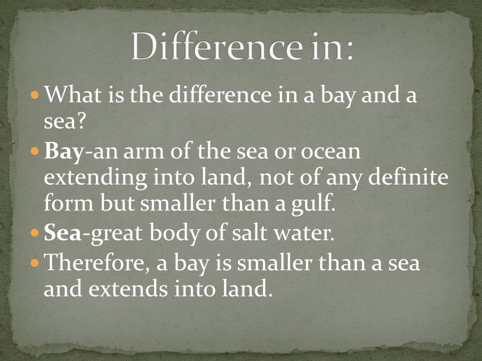 Difference in: What is the difference in a bay and a sea