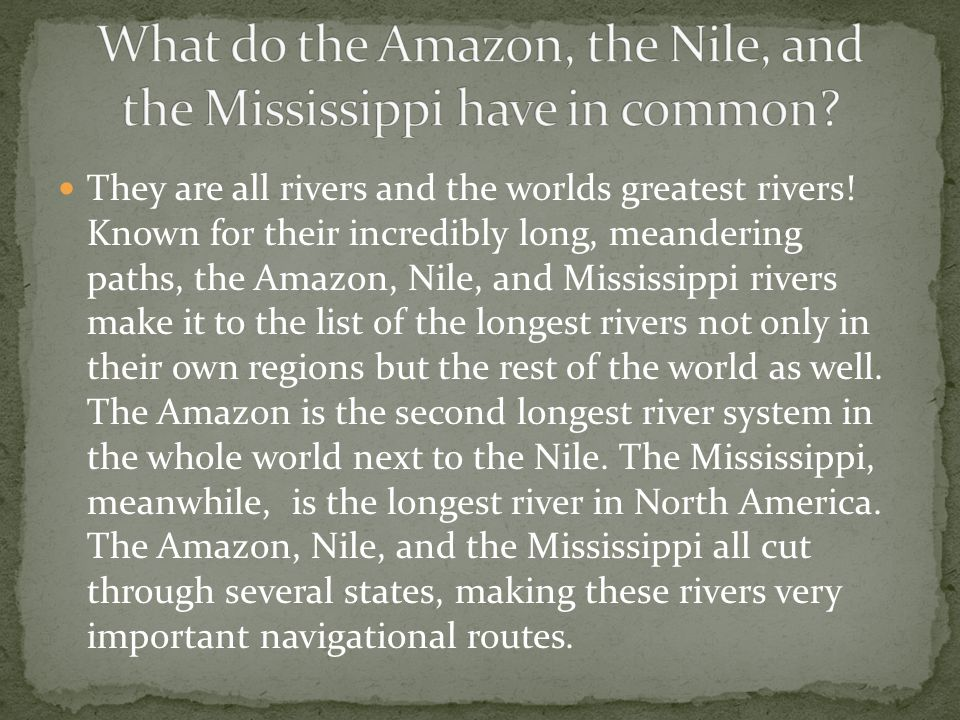 What do the Amazon, the Nile, and the Mississippi have in common
