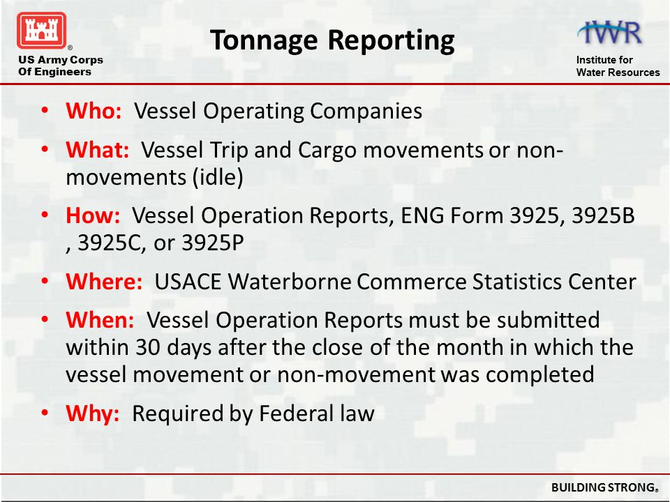 Tonnage Reporting Who: Vessel Operating Companies