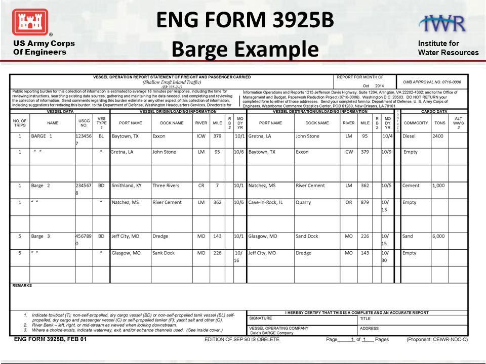 ENG FORM 3925B Barge Example