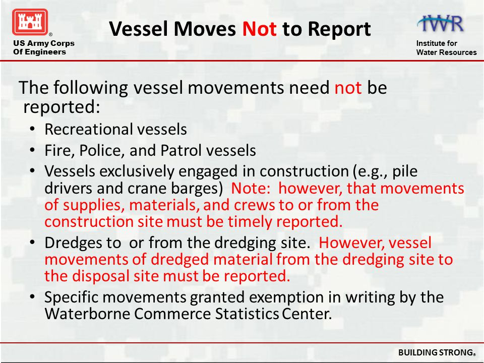 Vessel Moves Not to Report