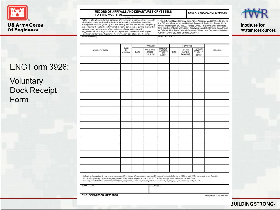 Dock Receipts ENG Form 3926: Voluntary Dock Receipt Form
