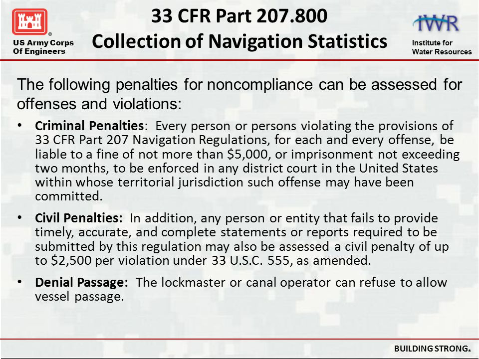 33 CFR Part 207.800 Collection of Navigation Statistics