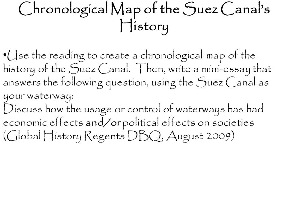 Chronological Map of the Suez Canal's History