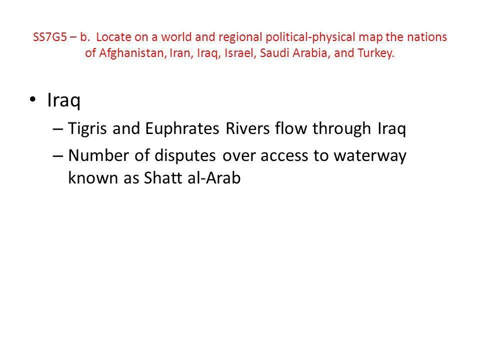 Iraq Tigris and Euphrates Rivers flow through Iraq