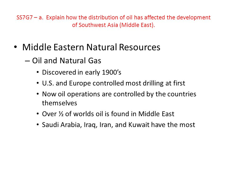 Middle Eastern Natural Resources