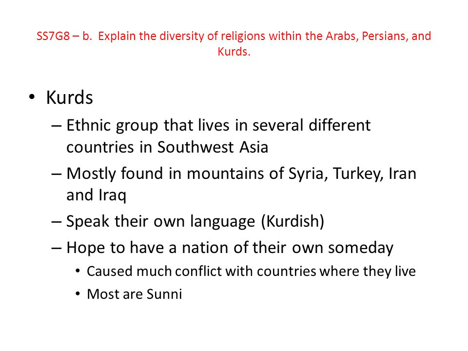 SS7G8 – b. Explain the diversity of religions within the Arabs, Persians, and Kurds.