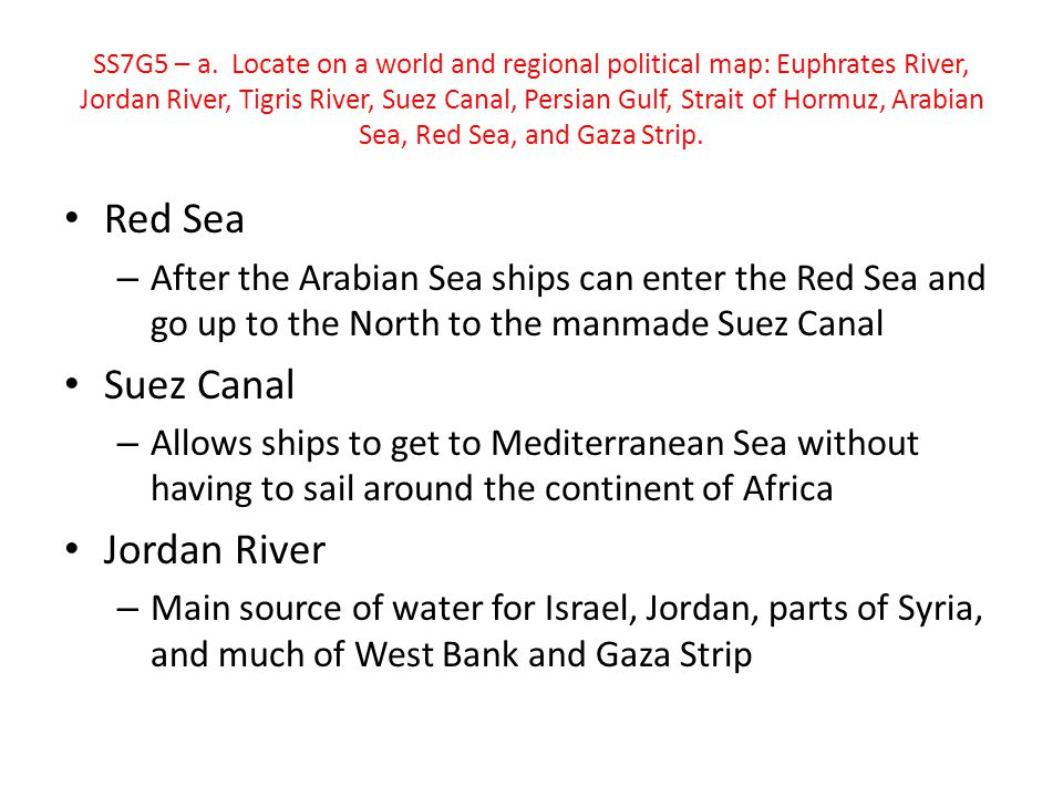 Red Sea Suez Canal Jordan River