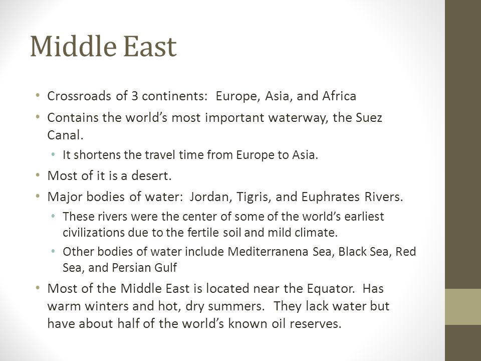 Middle East Crossroads of 3 continents: Europe, Asia, and Africa