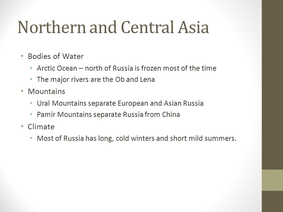 Northern and Central Asia