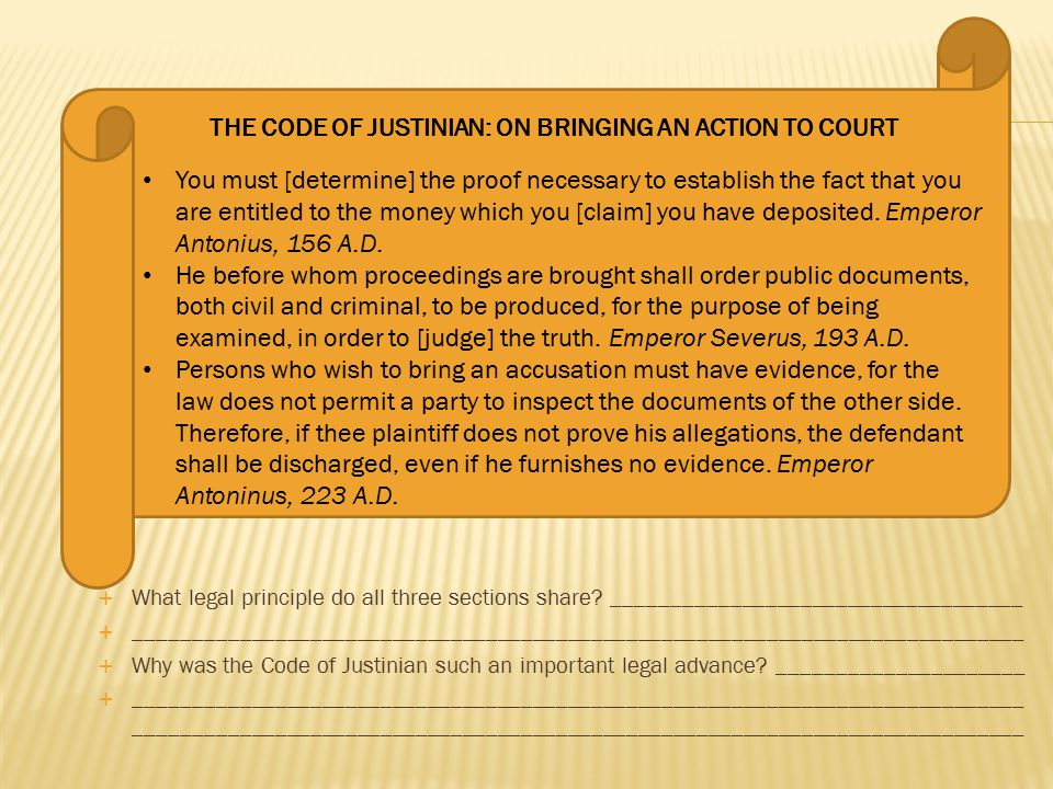 THE CODE OF JUSTINIAN: ON BRINGING AN ACTION TO COURT