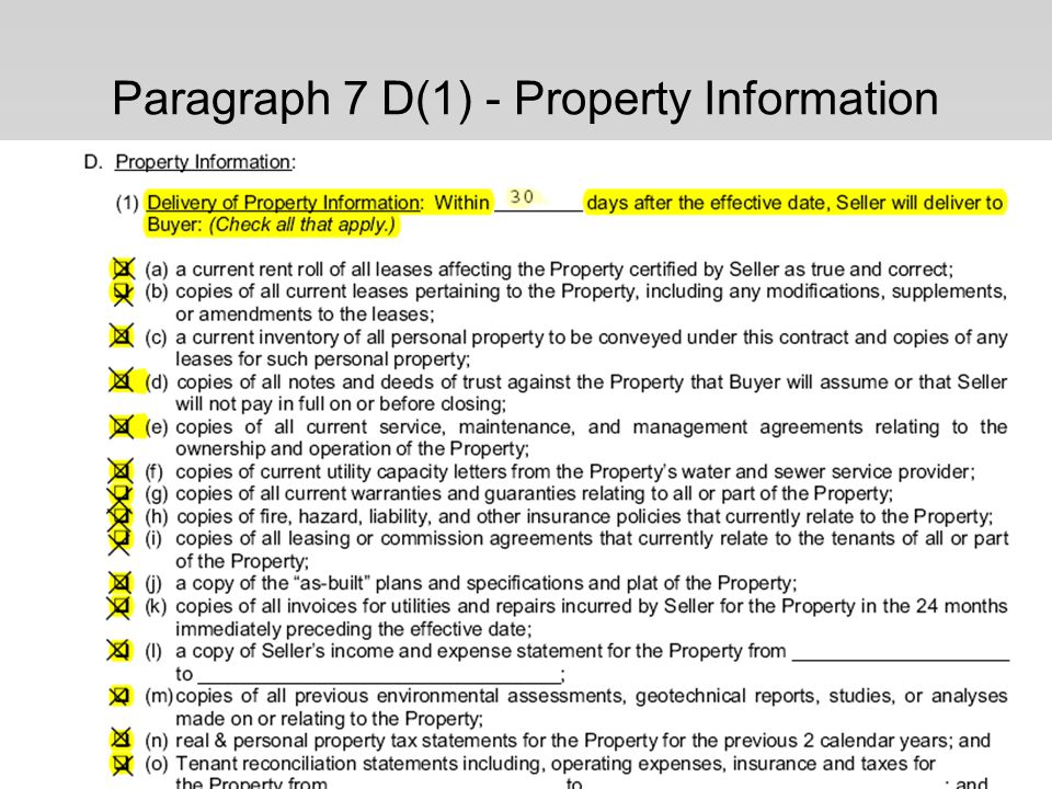 Paragraph 7 D(1) - Property Information