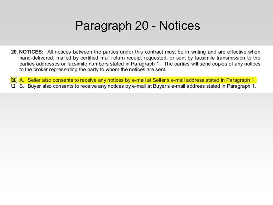Paragraph 20 - Notices