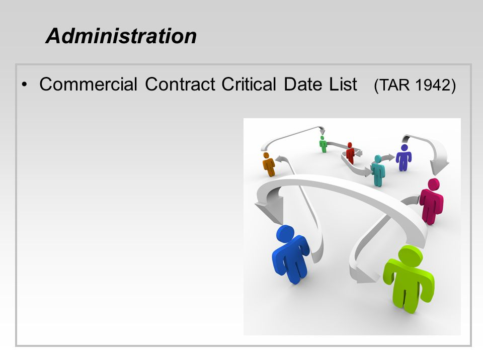 Administration Commercial Contract Critical Date List (TAR 1942) 39
