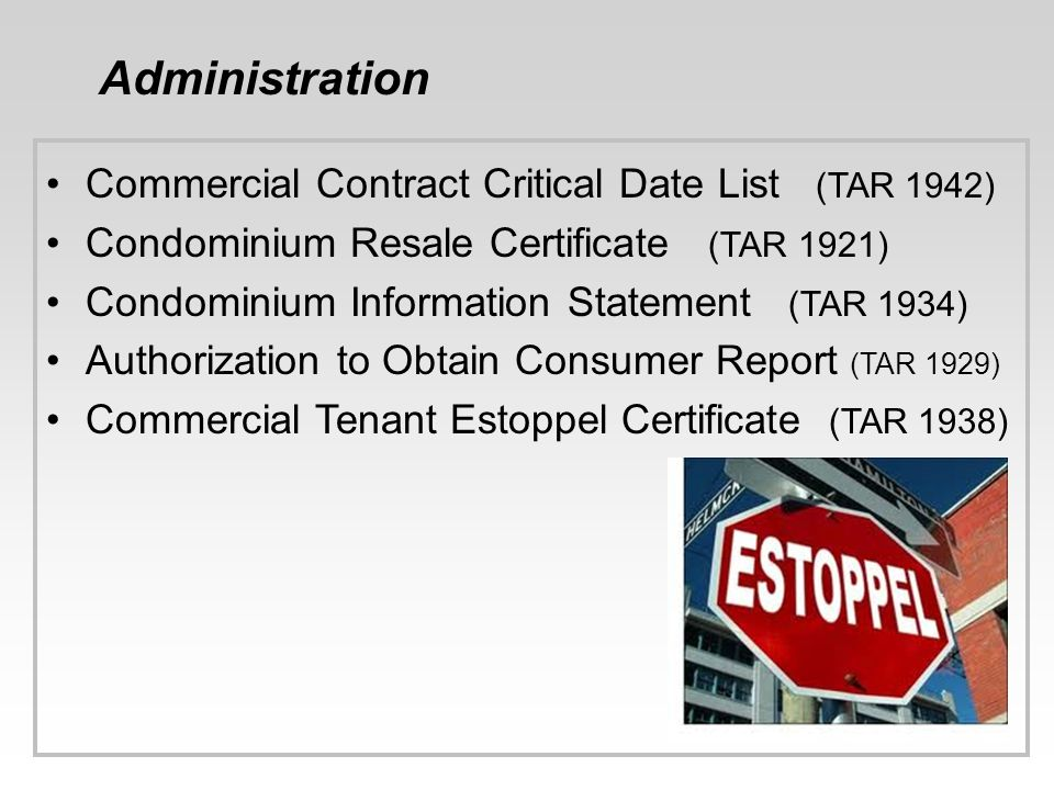 Administration Commercial Contract Critical Date List (TAR 1942)