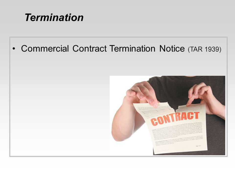 Termination Commercial Contract Termination Notice (TAR 1939) 46