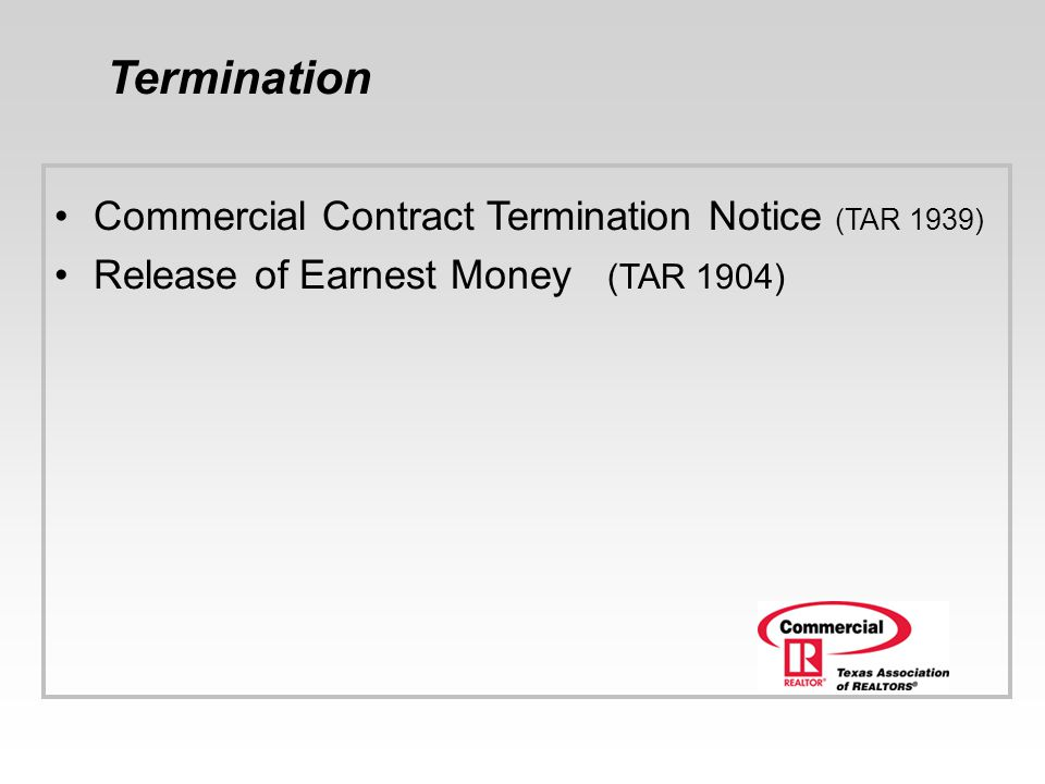 Termination Commercial Contract Termination Notice (TAR 1939)