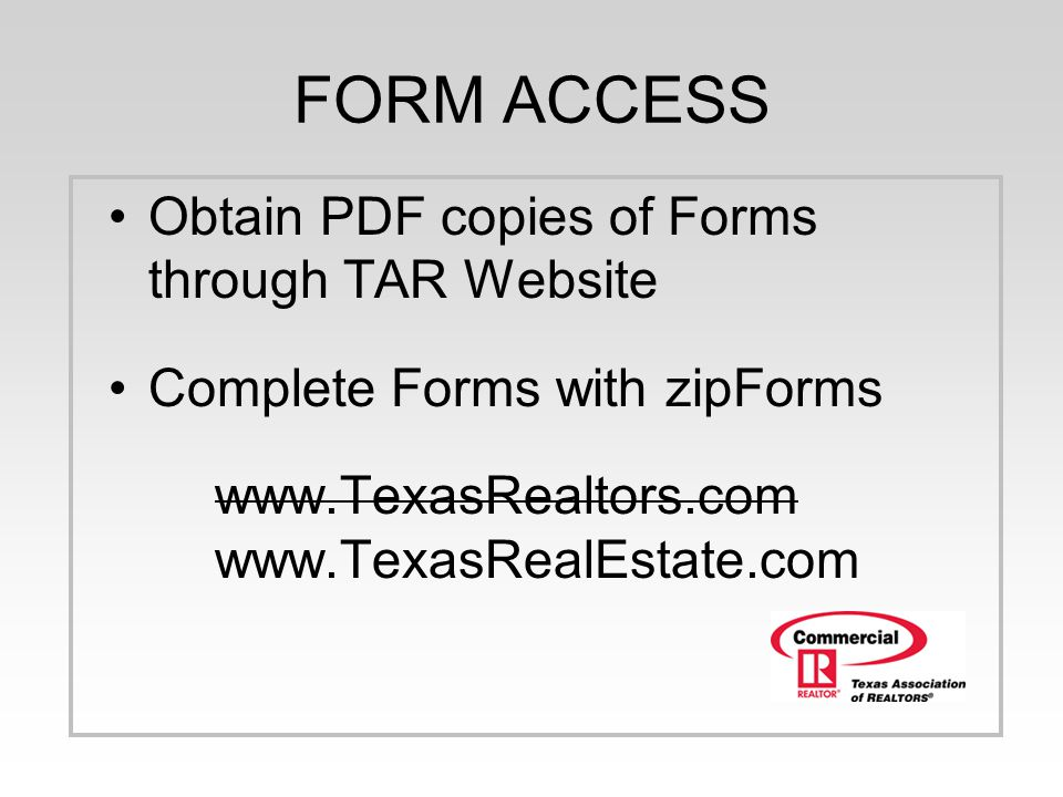 FORM ACCESS Obtain PDF copies of Forms through TAR Website