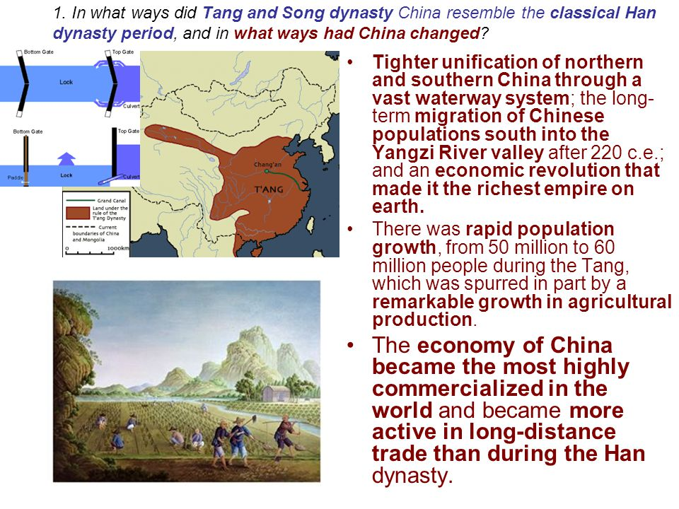 1. In what ways did Tang and Song dynasty China resemble the classical Han dynasty period, and in what ways had China changed