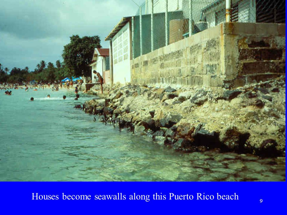 Houses become seawalls along this Puerto Rico beach