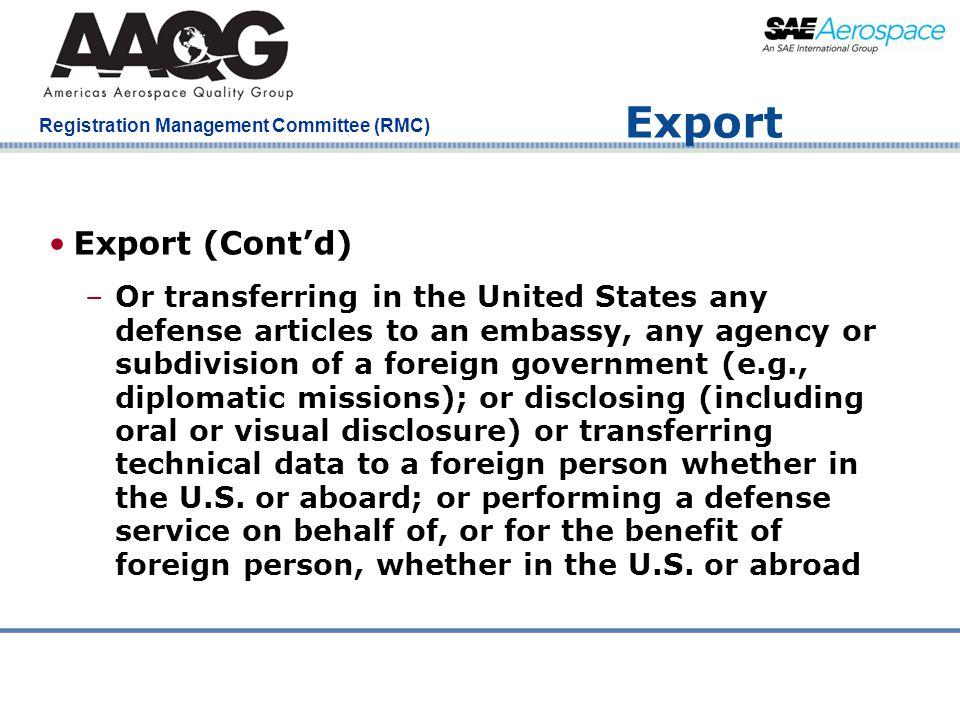 Export Export (Cont'd)