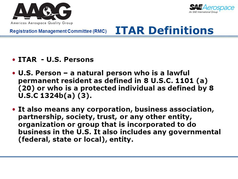 ITAR Definitions ITAR - U.S. Persons