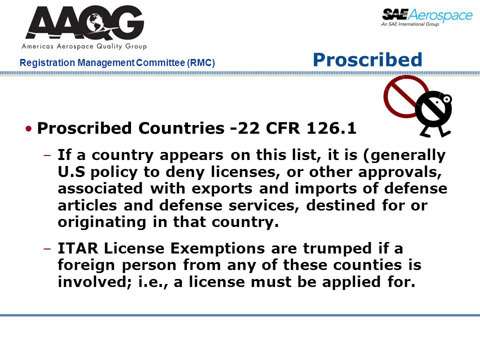Proscribed Proscribed Countries -22 CFR 126.1