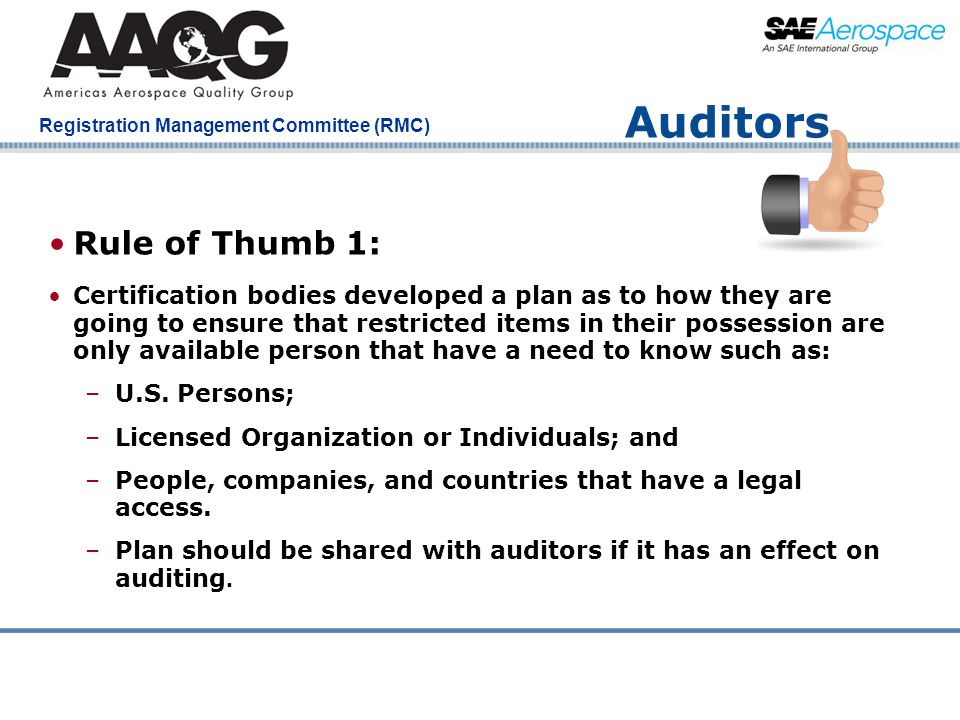 Auditors Rule of Thumb 1: