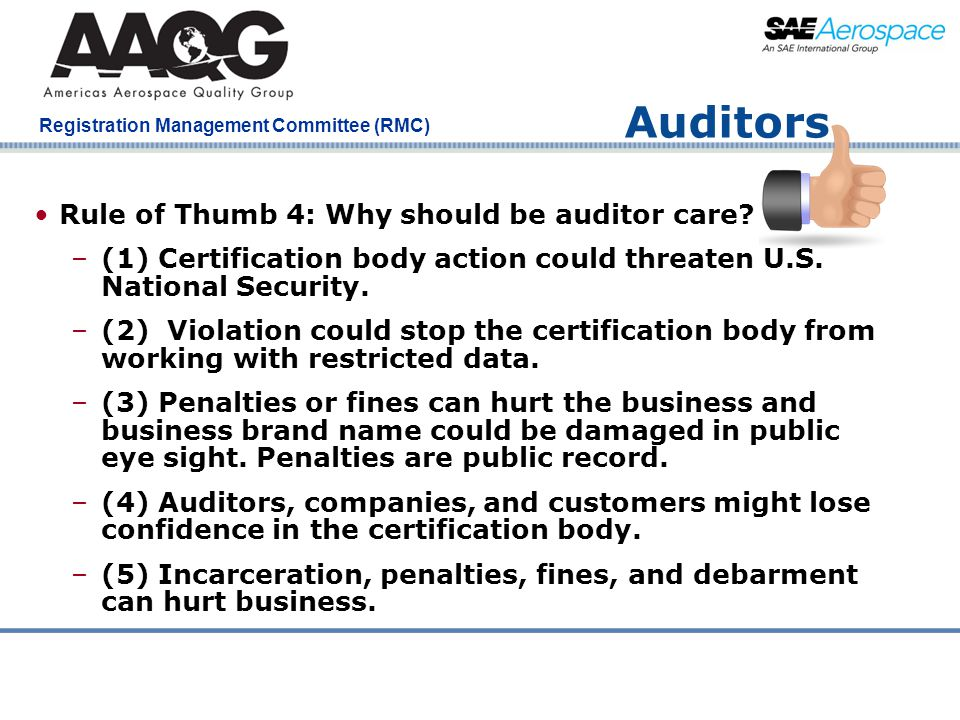 Auditors Rule of Thumb 4: Why should be auditor care