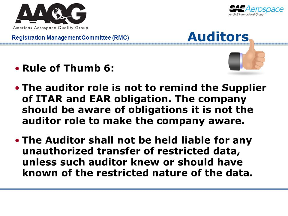 Auditors Rule of Thumb 6: