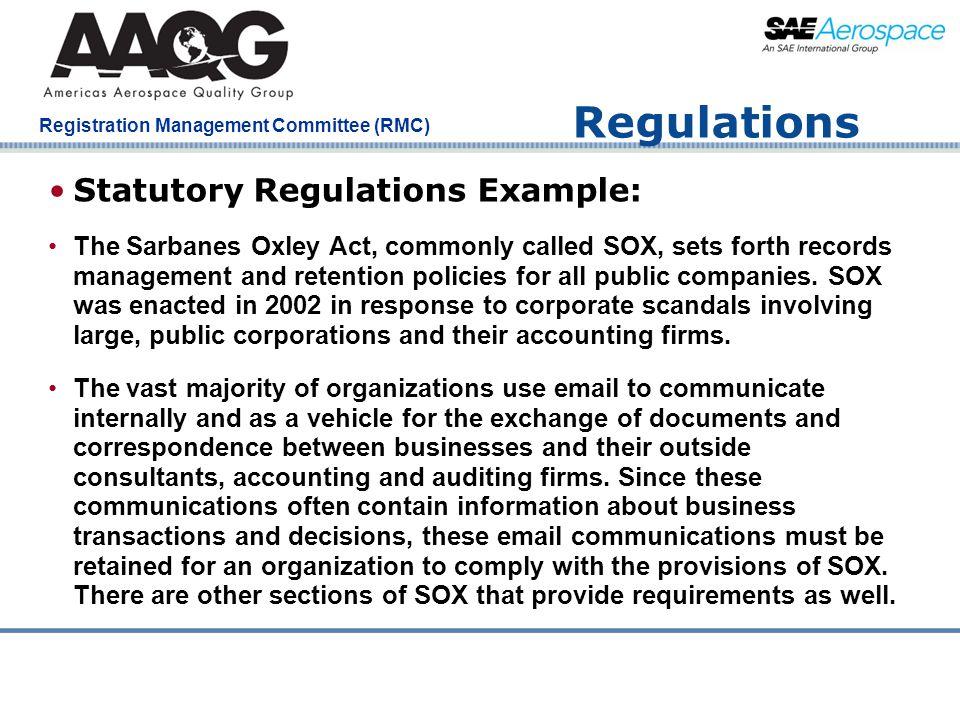 Regulations Statutory Regulations Example: