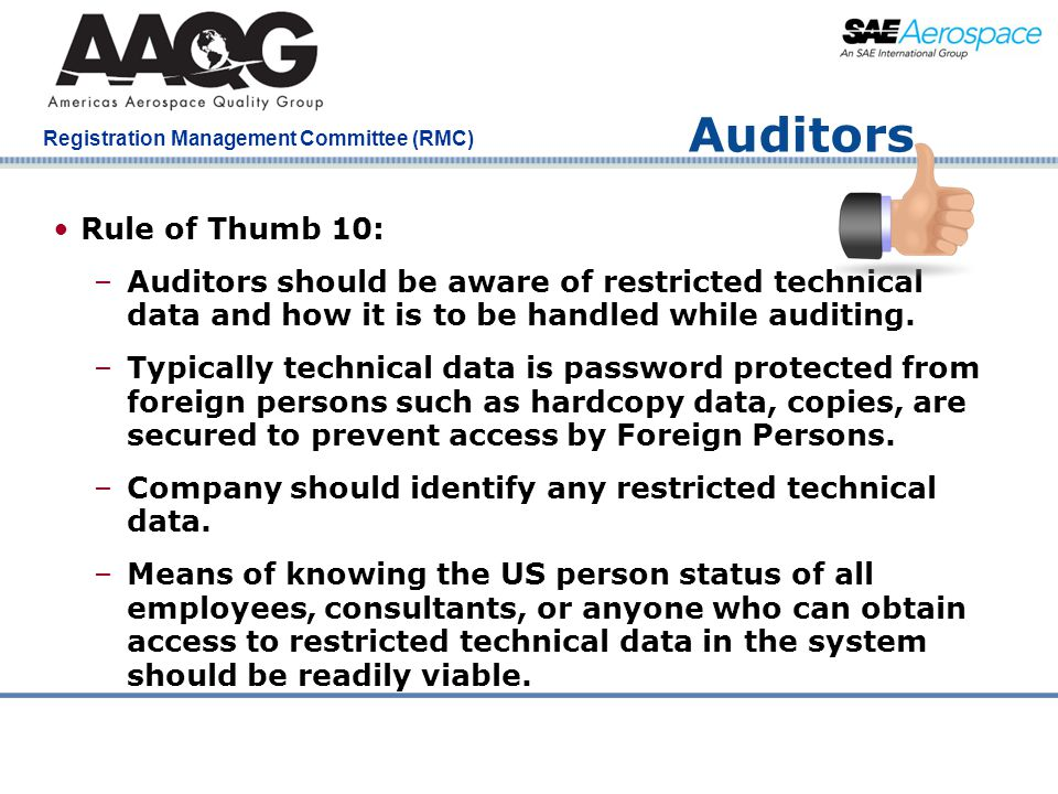 Auditors Rule of Thumb 10: