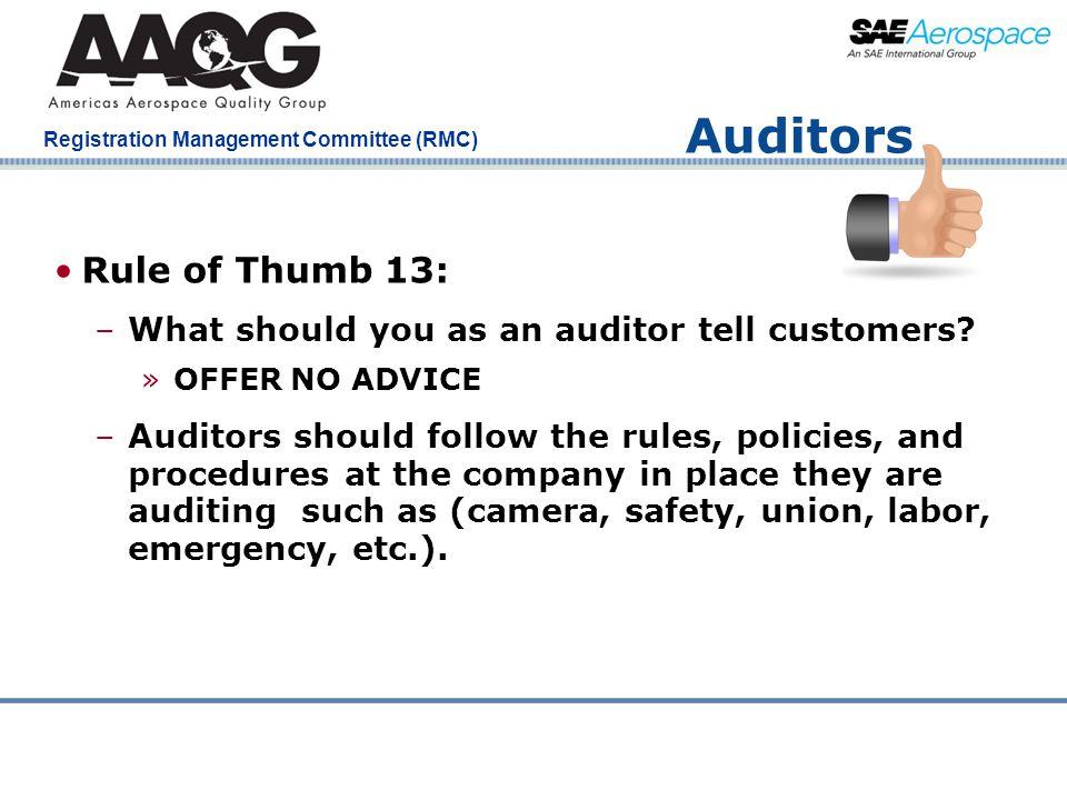Auditors Rule of Thumb 13: